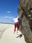 Aller moins vite que son ombre, Ecosse, août 2018, petite séance de bloc sur la plage écossaise ensoleillée